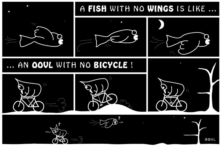 Ein OOVL-Comic von Vera Liesmann über Eulen auf dem Fahhrad