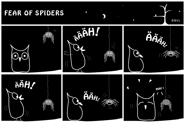 Ein OOVL-Comic von Vera Liesmann über Spinnenangst.