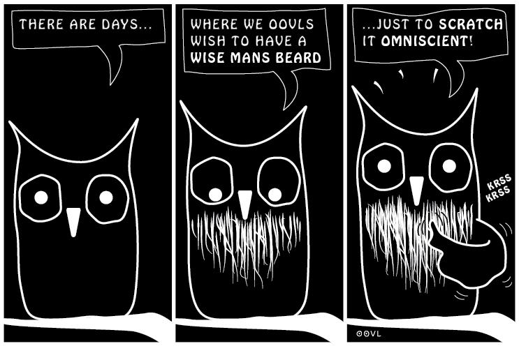Ein OOVL-Comic von Vera Liesmann über schlaues Bartgekratze.