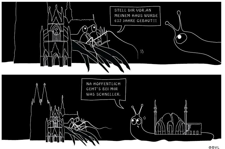 Ein OOVL-Comic von Vera Liesmann über den kölner Moscheebau.