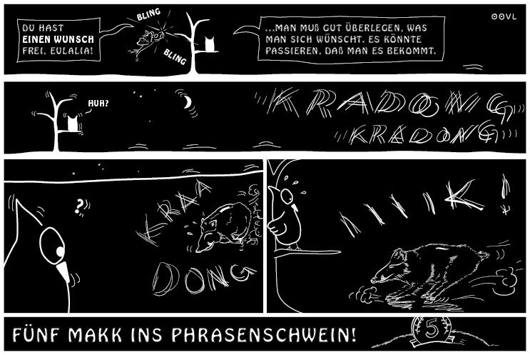 Ein EULALIA THE OOVL Comic von Vera Liesmann übers Phrasendreschen.