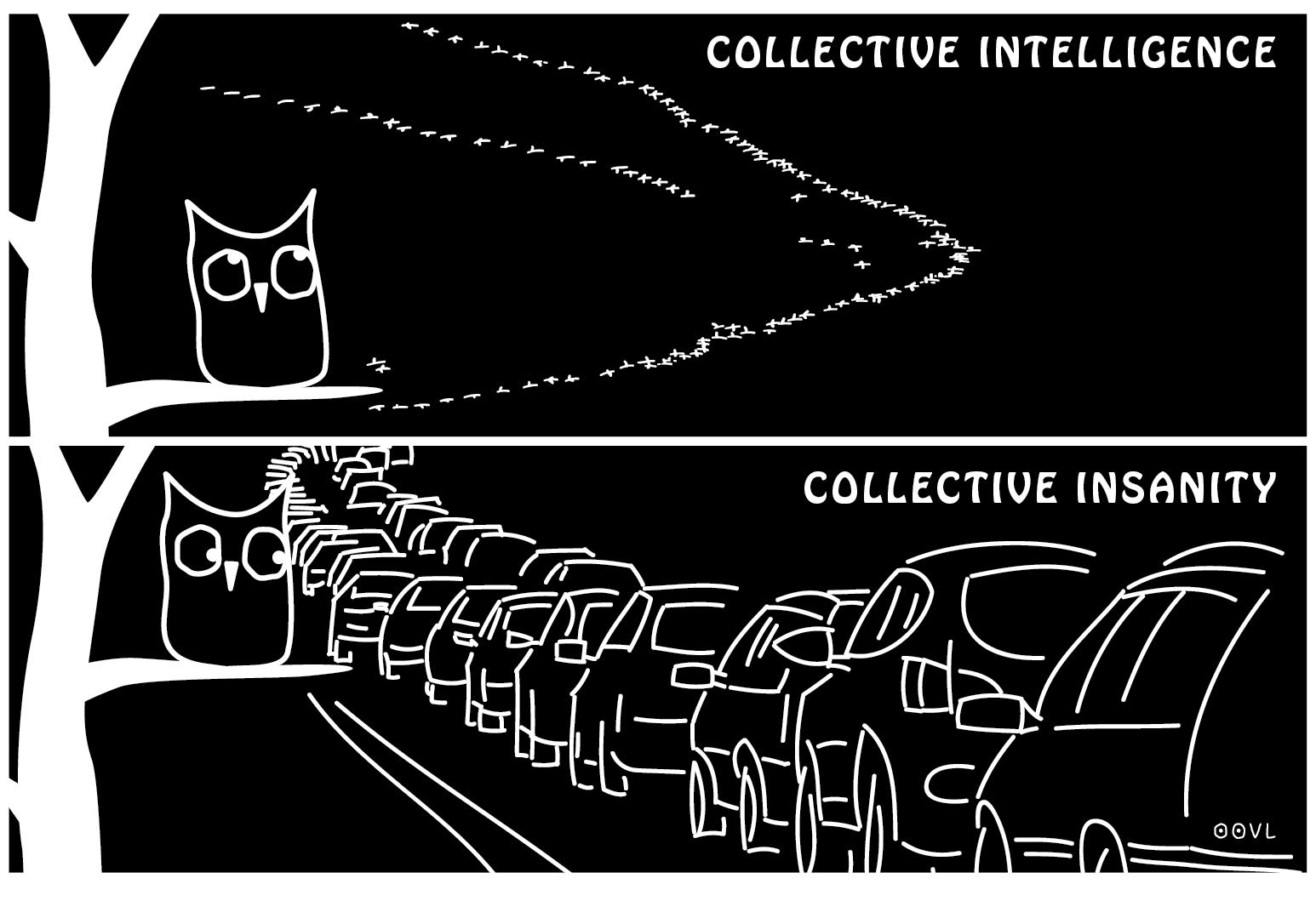 Ein EULALIA THE OOVL Comic von Vera Liesmann über das Gegenteil von Schwarmintelligenz.