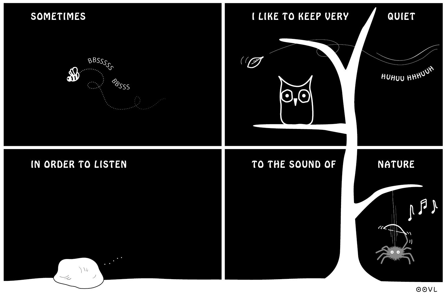 Ein EULALIA THE OOVL Comic von Vera Liesmann über die zarten Klänge der Natur