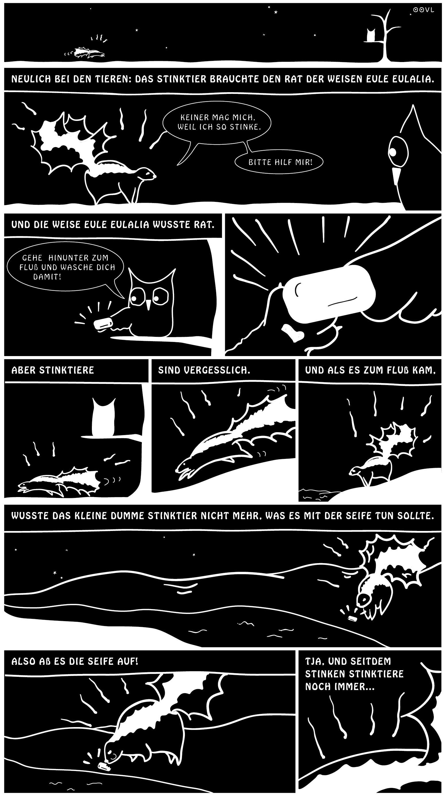 Ein EULALIA THE OOVL Collab Comic von Vera Liesmann über eine Kindergeschichte mit einem Stinktier.