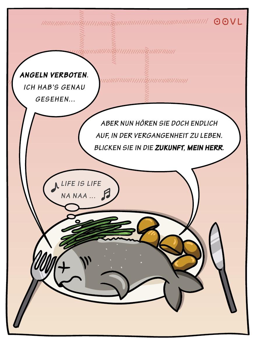 Ein OOVL-Cartoon von Vera Liesmann über Verbote.