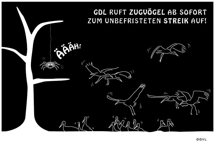 Ein EULALIA THE OOVL Comic von Vera Liesmann über Streik und die GDL.