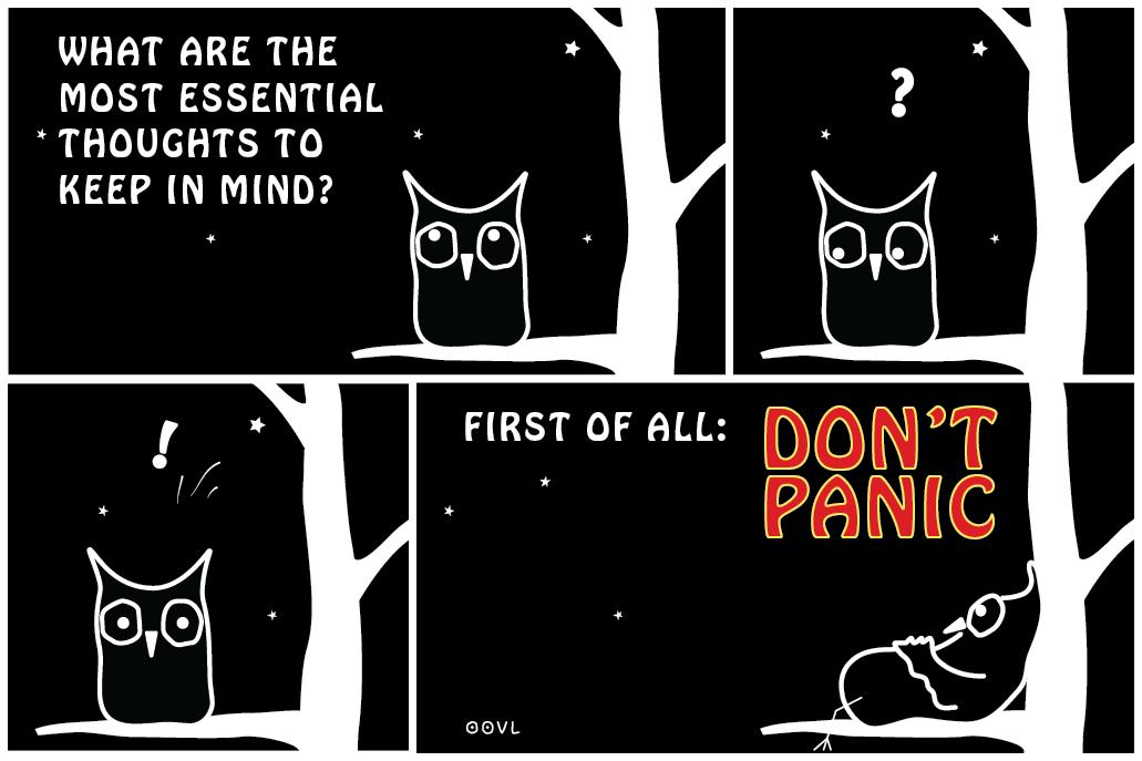 Ein EULALIA THE OOVL Comic von Vera Liesmann über den Hitchhikers Guide.
